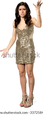 Angry Caucasian young woman with long dark brown hair in evening outfit talking with hands - Isolated
