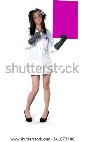 Angry Caucasian young woman with long dark brown hair in uniform holding large sign - Isolated - stock photo