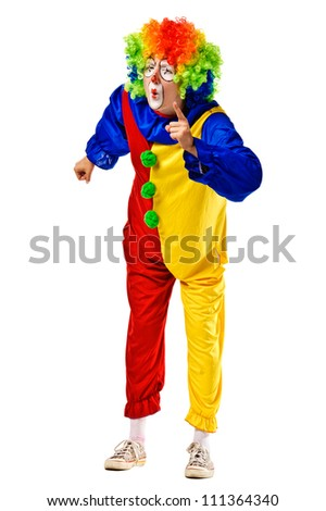 Angry clown shaking her finger and frowning. Isolated