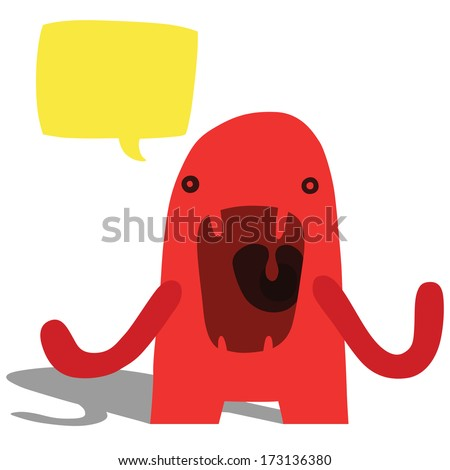 Angry Complaining Monster with Yellow Speech Bubble - stock photo