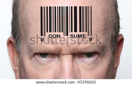 Angry consumer with a bar code on his forehead - stock photo