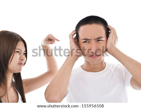 Angry couple arguing isolated  - stock photo