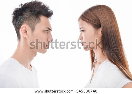 Angry couple arguing isolated