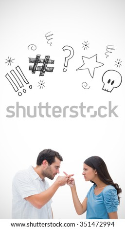 Angry couple pointing at each other against swearing doodles - stock photo