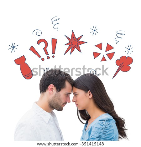 Angry couple staring at each other against swearing doodles - stock photo