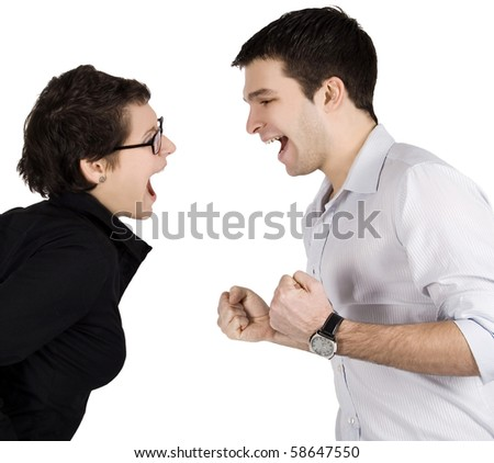 Angry couple yelling at each other.