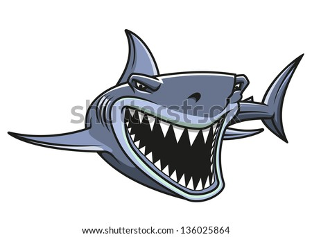 Angry danger shark in cartoon style for mascot design. Vector version also available in gallery - stock photo