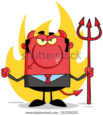 Angry Devil With A Trident  In Front Of Flames. Raster Illustration.Vector Version Also Available In Portfolio. - stock photo
