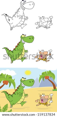 Angry Dinosaur Chasing A Caveman. Raster Collection Set - stock photo