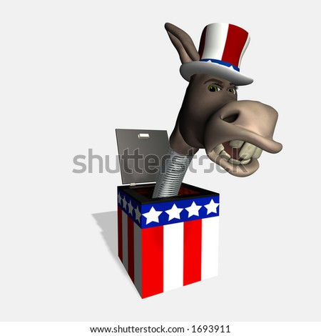Angry donkey head mounted on a spring. Democrat. Political humor. - stock photo
