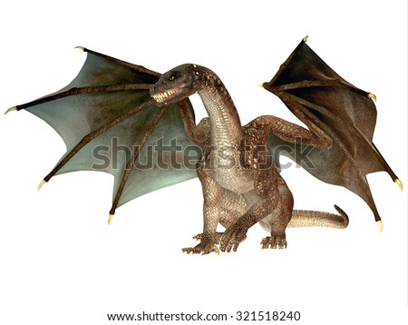 Angry Dragon - The dragon is a legendary creature with reptilian traits and wings featured in myths in many cultures. - stock photo