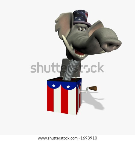 Angry elephant head mounted on a spring. Republican. Political humor. - stock photo