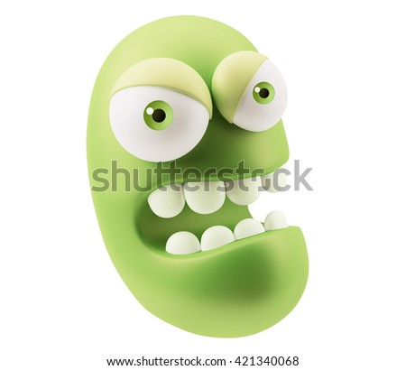 Angry Emoji Cartoon. 3d Rendering. - stock photo