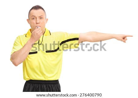 Angry football referee blowing a whistle and pointing with his hand isolated on white background - stock photo