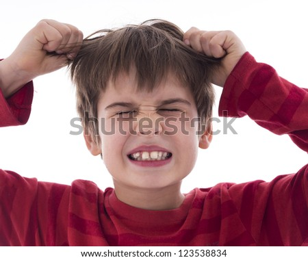 angry, frustrated boy - stock photo