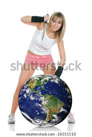 Angry frustrated woman with knife threat the planet earth. Environment in danger concept - stock photo