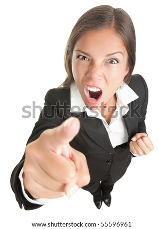 Angry funny businesswoman isolated on white background looking and pointing upset at camera. Full body in high and wide angle view. - stock photo