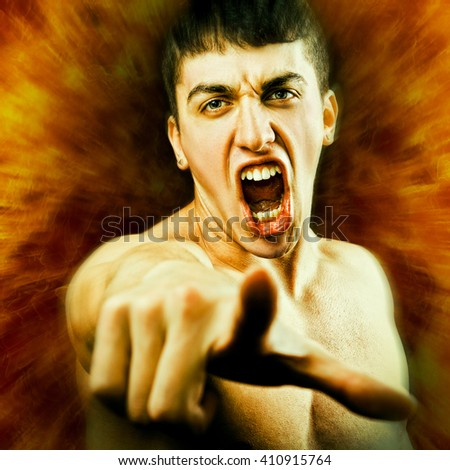 Angry Furious Man Screaming and Pointing Finger - stock photo