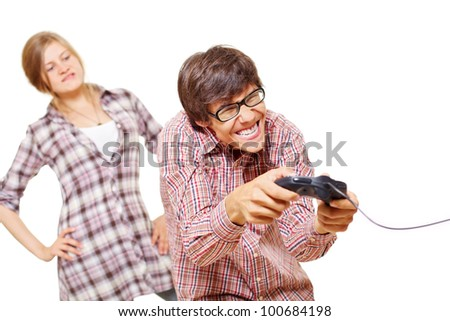 Angry girl catches her boyfriend playing video game. Isolated on white background, mask included - stock photo