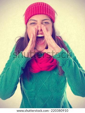 Angry girl shouting - stock photo