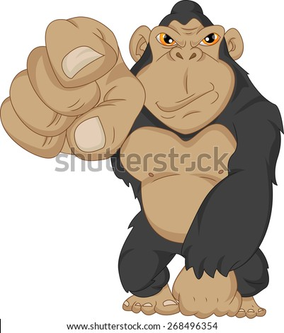 angry gorilla cartoon - stock photo