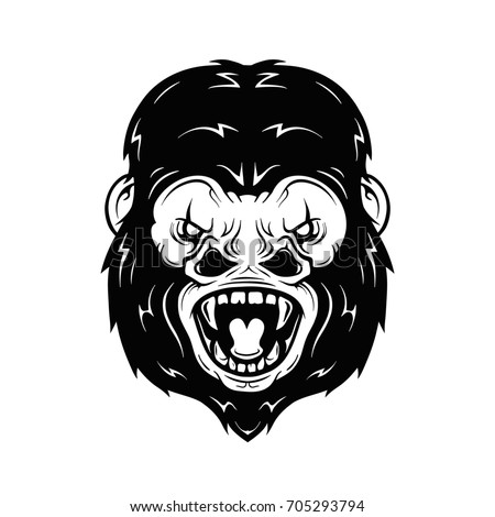 Angry gorilla head illustration. Isolated on white background. Print design for t-shirt
