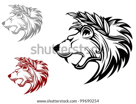 Angry heraldic lion with laurel wreath on head. Vector version also available in gallery - stock photo