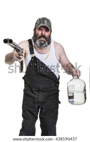 Angry hillbilly with shotgun and moonshine on a white background.