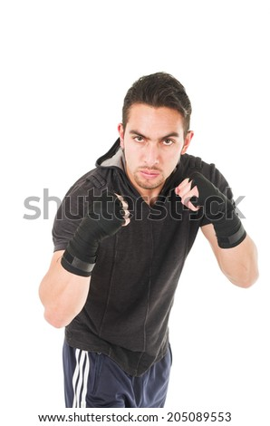 angry hispanic man martial arts fighter wearing black t-shirt isolated on white