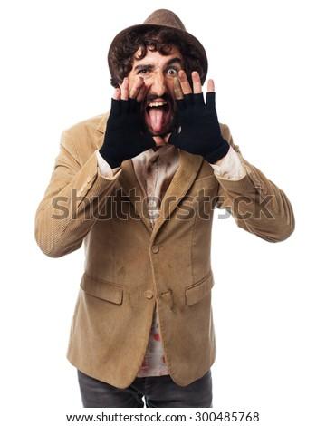 angry homeless man shouting - stock photo