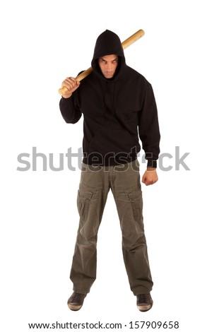 Angry hooligan with baseball bat isolated on white. Focus on bat - stock photo