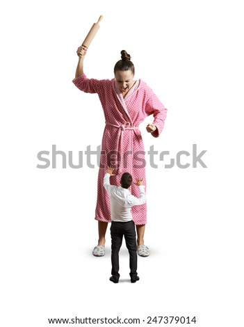 angry housewife with rolling pin screaming at small startled husband. isolated on white background - stock photo