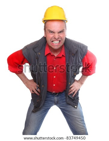 Angry leader on a white background. - stock photo