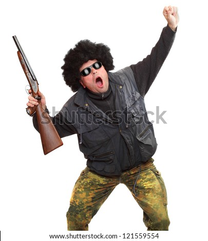 Angry loser with shotgun. Gun control concept. - stock photo