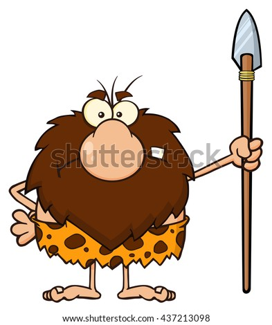 Angry Male Caveman Cartoon Mascot Character Standing With A Spear. Raster Illustration Isolated On White Background - stock photo