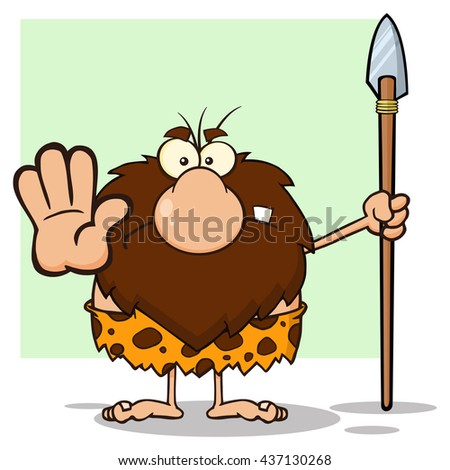 Angry Male Caveman Hunter Cartoon Mascot Character Gesturing And Standing With A Spear. Raster Illustration Isolated On White Background - stock photo