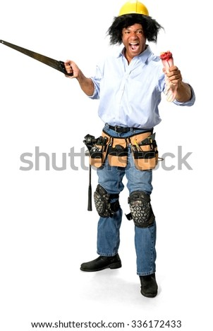 Angry Male Construction Worker with medium black hair in uniform holding saw and severed hand - Isolated