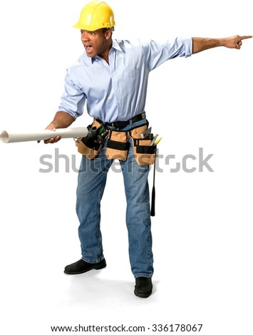 Angry Male Construction Worker with short black hair in uniform holding blueprints - Isolated