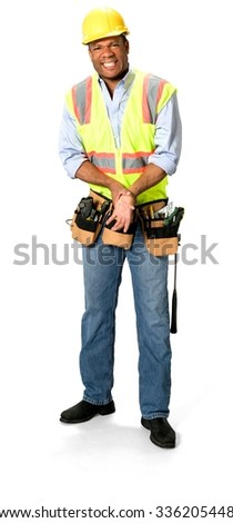 Angry Male Construction Worker with short black hair in uniform hurt his hand - Isolated - stock photo