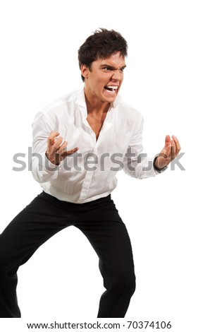 Angry man gesticulating with hands expressing extreme negativity - stock photo