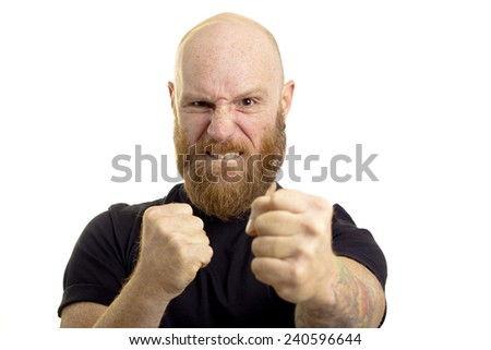 angry man in fight position