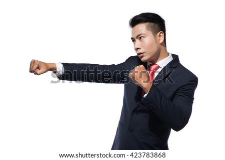 Angry man in suit ready to fight isolated on white background - stock photo