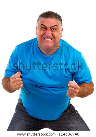 Angry man isolated on a white background - stock photo