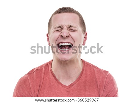 Angry man isolated on a white background screaming.
