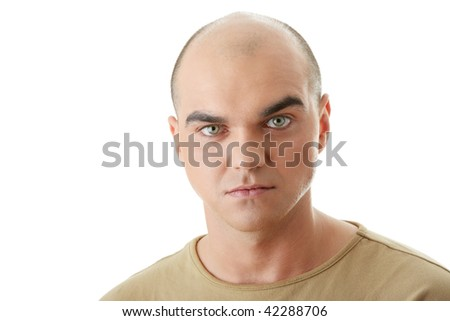 Angry man  isolated on white background