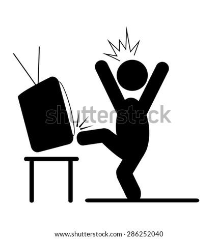 Angry man kicking TV pictogram flat icon isolated on white background - stock photo