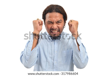 Angry man on a white background - stock photo