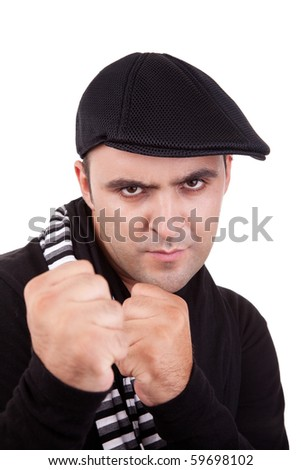 Angry man punching fist isolated on white, studio shot - stock photo