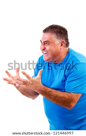 Angry man screaming at something/someone, isolated on white background