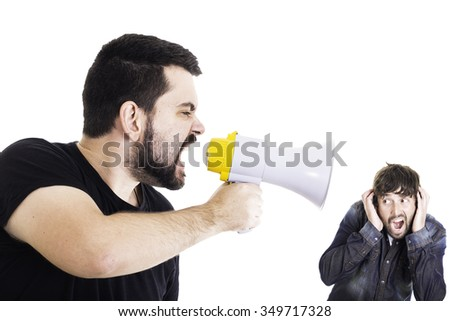 Angry man shouting at his friend through megaphone